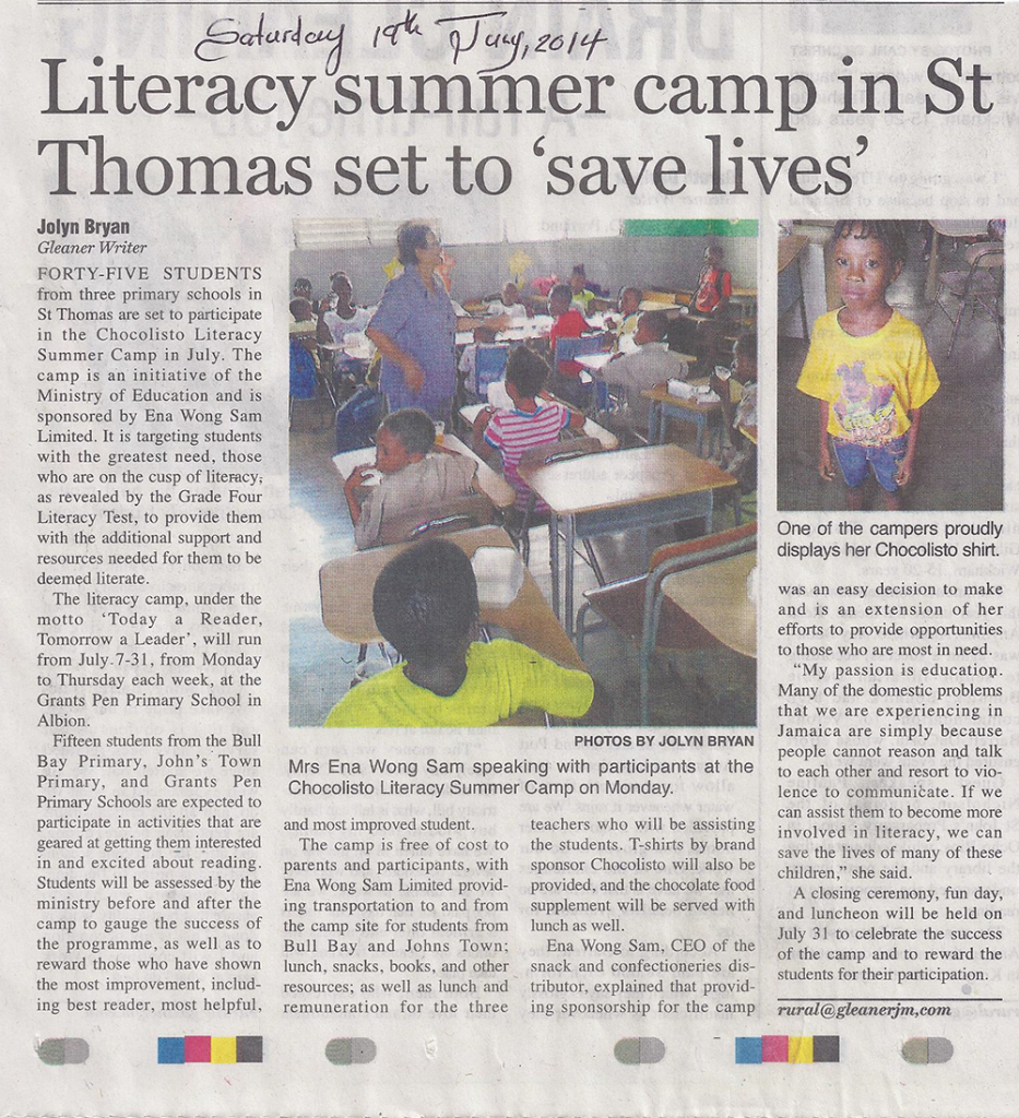 Gleaner Article - July 19 2014